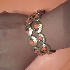 Vintage Hammered Rounds Orange Slot Bead Bracelet